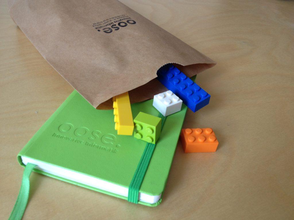 Legosteine, Notizbuch