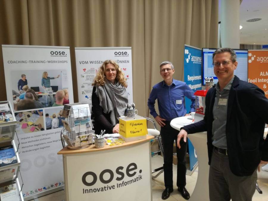 Am oose-Stand bei der REConf 2018: Andrea Grass, Dr. Marcus Winteroll und Olaf Tesmer